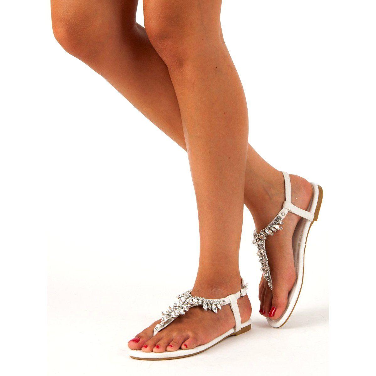 Eleganckie Plaskie Sandaly Vices Biale Shoes Sandals Fashion