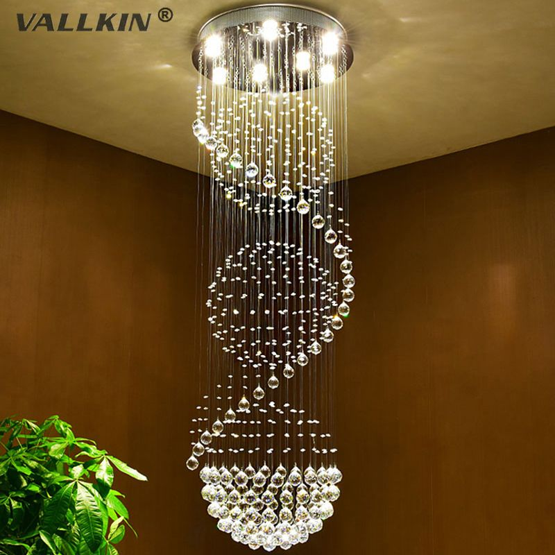 Vallkin modern long led spiral living crystal chandeliers lighting vallkin modern long led spiral living crystal chandeliers lighting fixture for staircase stair lamp showcase bedroom aloadofball Image collections