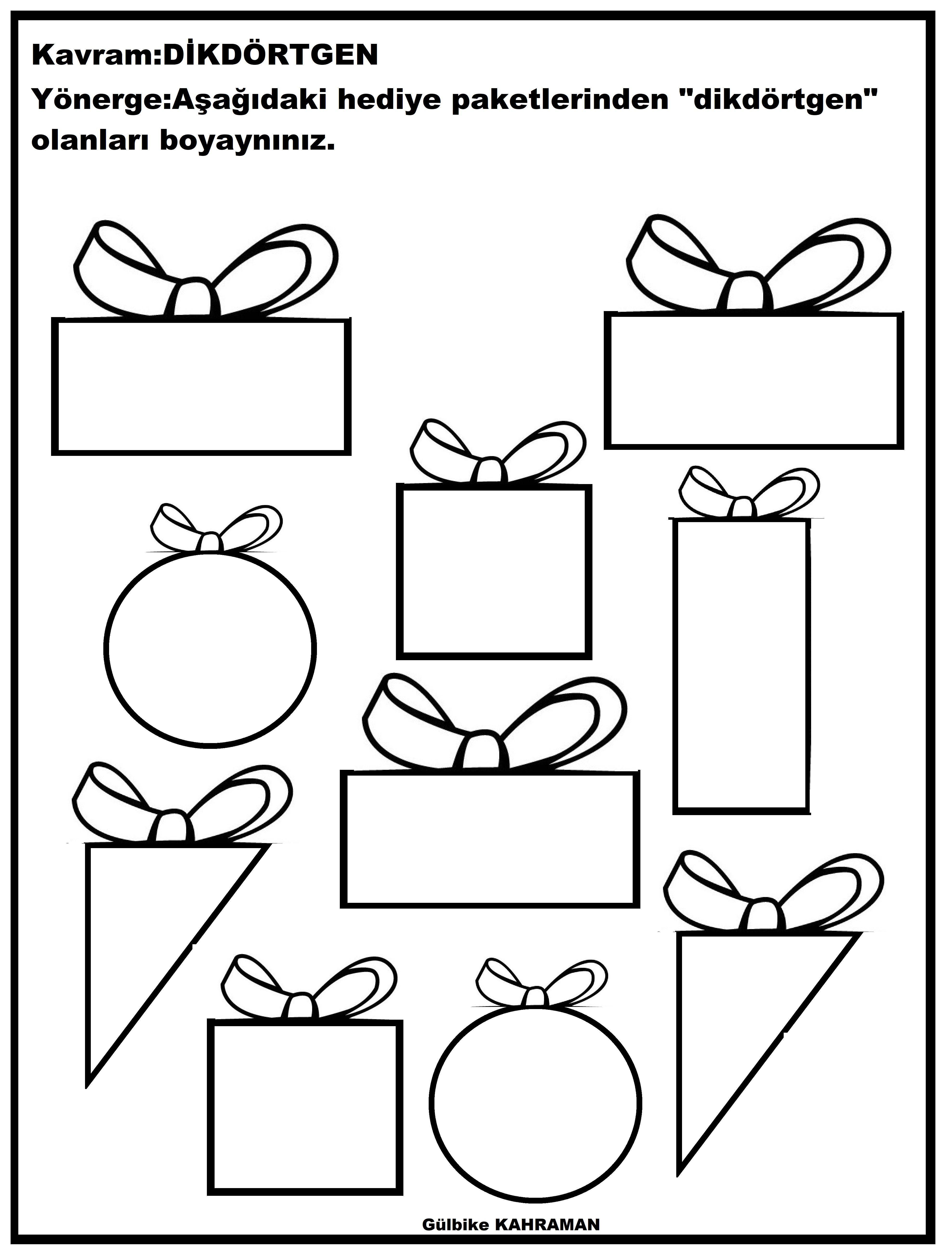 Okul Oncesi Dikdortgen Boyama Sayfalari Faaliyetler Geometri