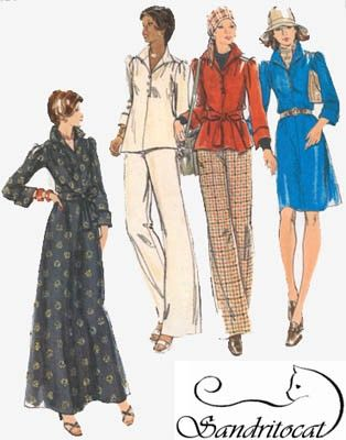 Vintage 70s Pullover Dress Top Pants Sewing Pattern Butterick 3393 ...