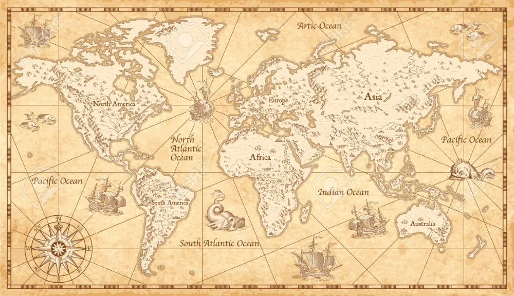 Great Detail Illustration Of The World Map In Vintage Style On Map Wall Mural Illustrated Map Water Color World Map