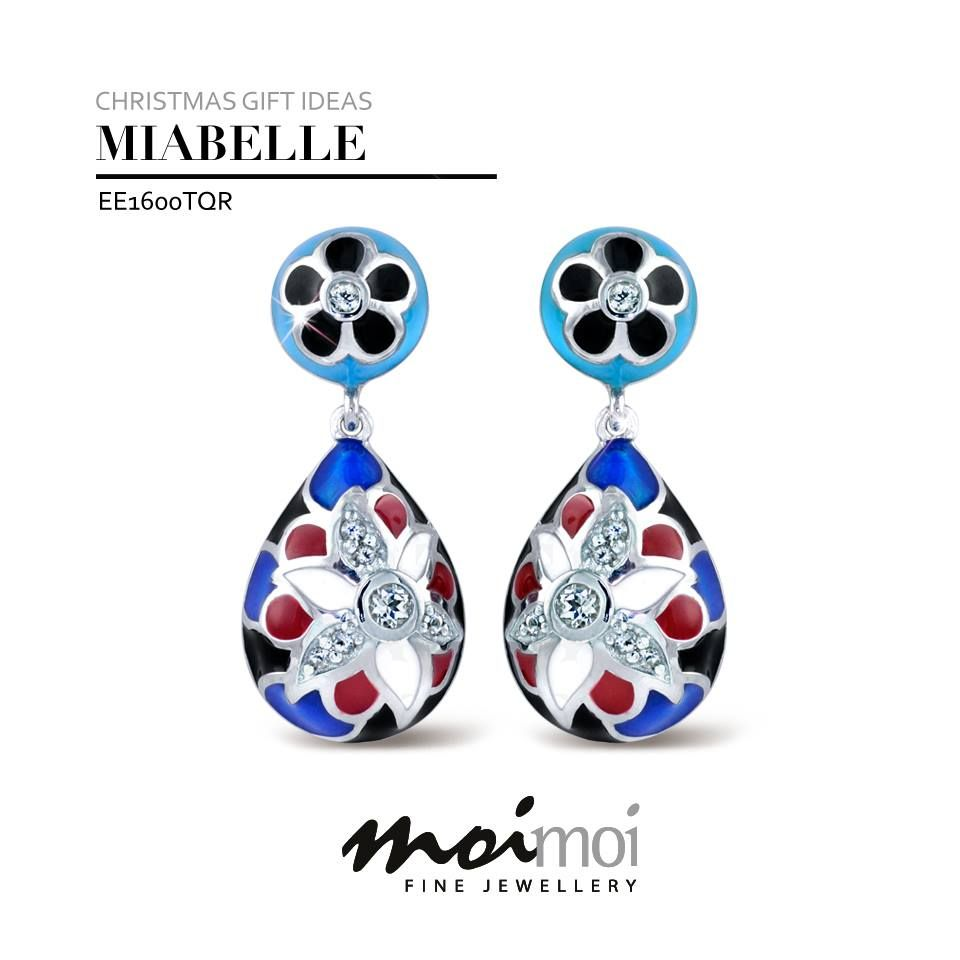 Staff Picks - Under $250, Janet: The perfect combo of turquoise, navy, red and blue enamel adorned with sparkling white sapphires - these earrings are fun and beautiful to wear! Not to mention the very cheeky price of just $136!   http://www.moimoi.com.au/product-ee1600tqr-524.aspx