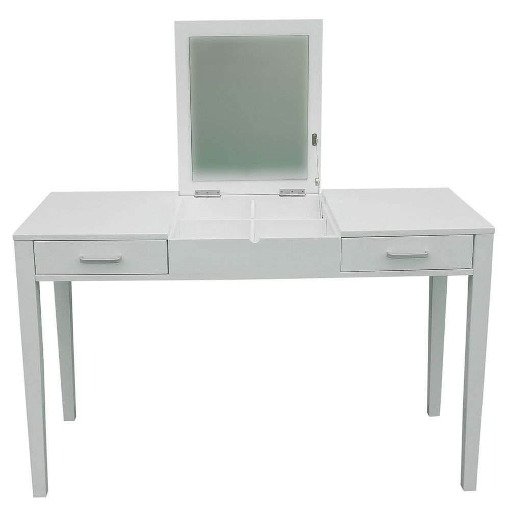 New Vanity Makeup Dressing Table Make Up Desk With Flip Mirror U0026 Drawers  White #HomCom