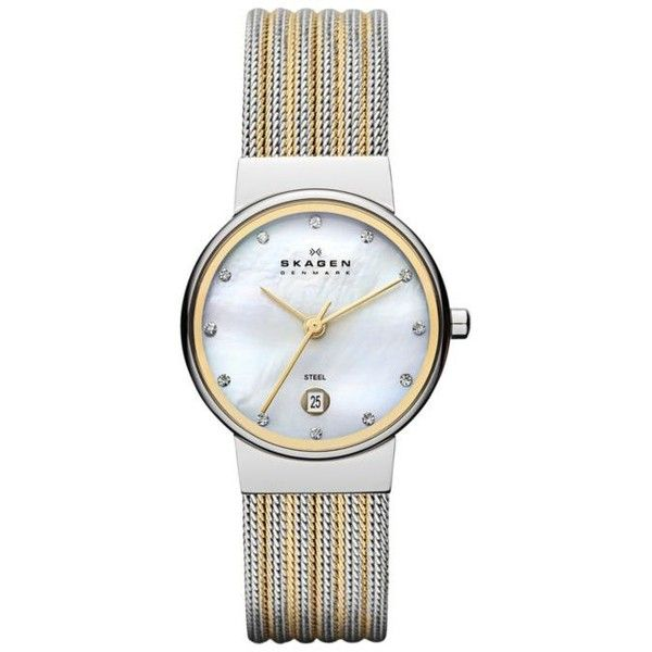 Skagen Two Tone Womens Classic Striped Mesh Watch (€115) ❤ liked on Polyvore featuring jewelry, watches, two tone, gold and silver jewelry, gold and silver watches, skagen jewelry, two tone jewelry and two tone watches