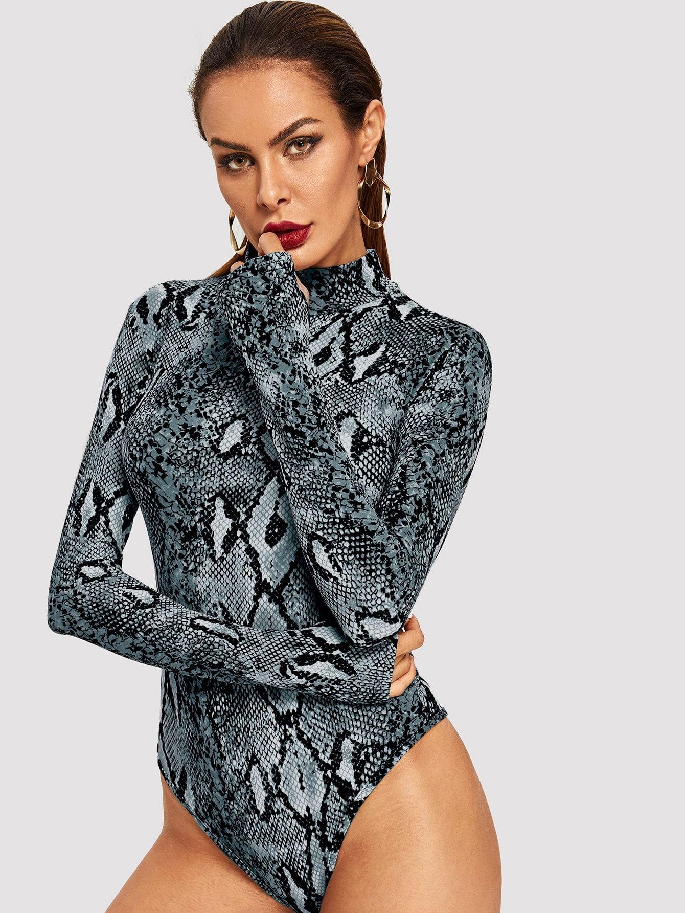 Womens Snake Leopard Print Body con Bodysuit Long Sleeve High Neck Leotard dress