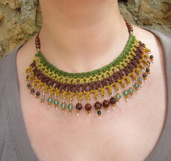 Photo of Woodland – Cotton yarn crochet necklace, stones, brass, seed beads, green, olive green, mustard, golden, brown