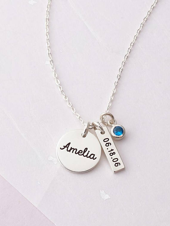 508f0c64a New Mom Necklace - Baby Name Necklace - Gift for New Mom - Kid's Name  Necklace - Mom Birthstone Neck