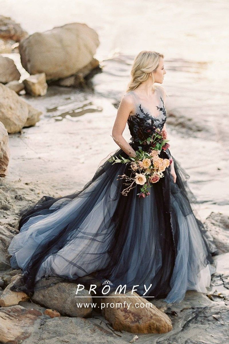 Black Indigo Gray Tulle Lace Bridal Shower Dress Black Tulle Wedding Dress Grey Wedding Dress Halloween Wedding Dresses [ 1200 x 800 Pixel ]