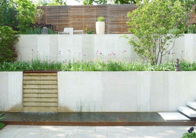 muros altos blancos en jardines modernos Muro contención - jardines modernos