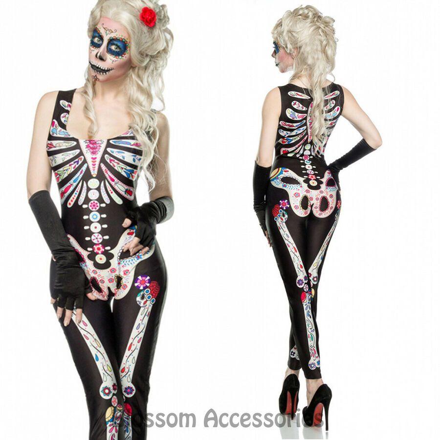 K254 Sugar Skull Suit Day of Dead Senorita Skull Fancy Dress Halloween Costume