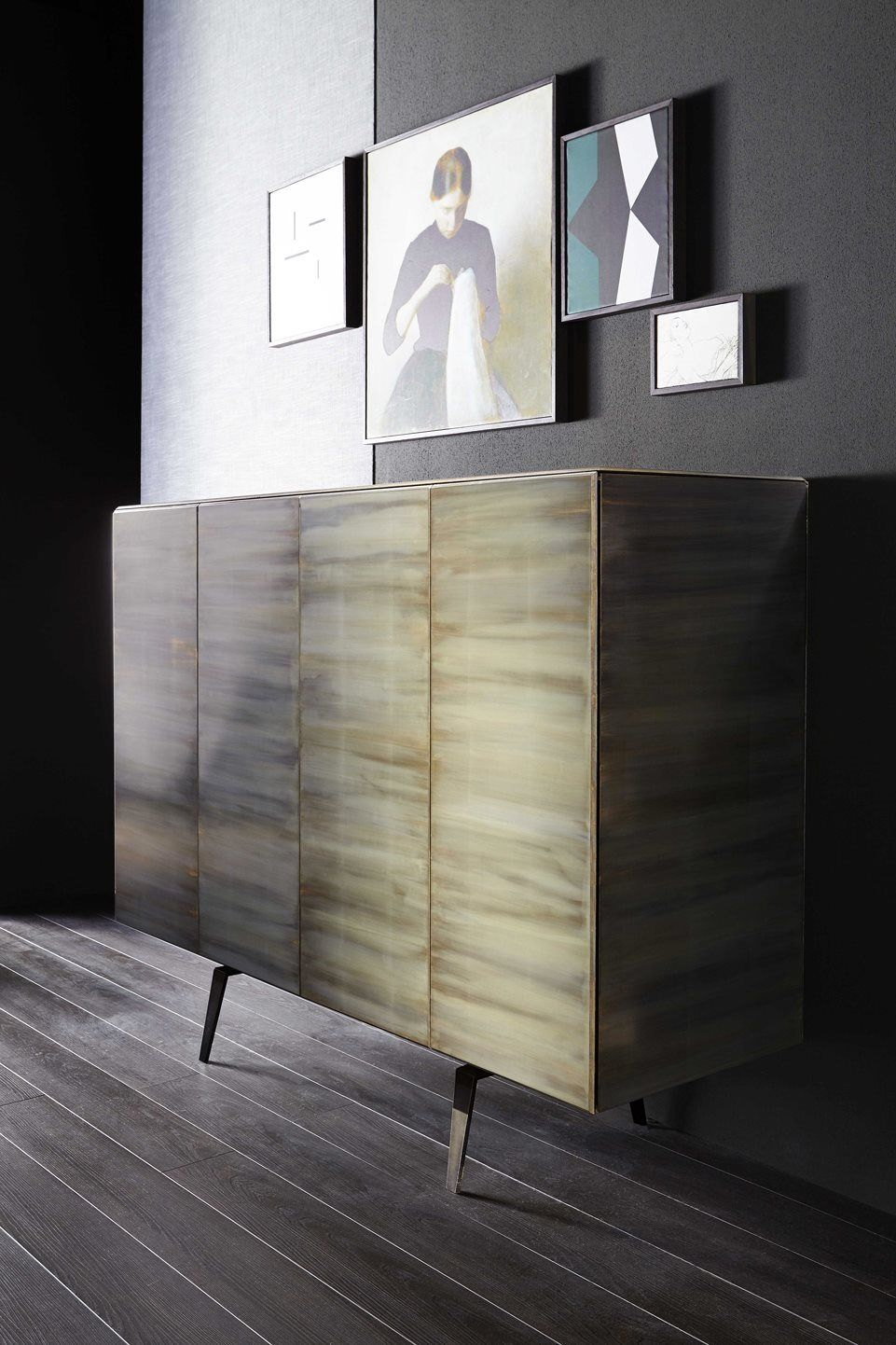 Pandora   Sideboard In Tempered Glass Covered By Gold Leaf Applied By Hand  With An Exclusive System. Collection In Numbered Edition.