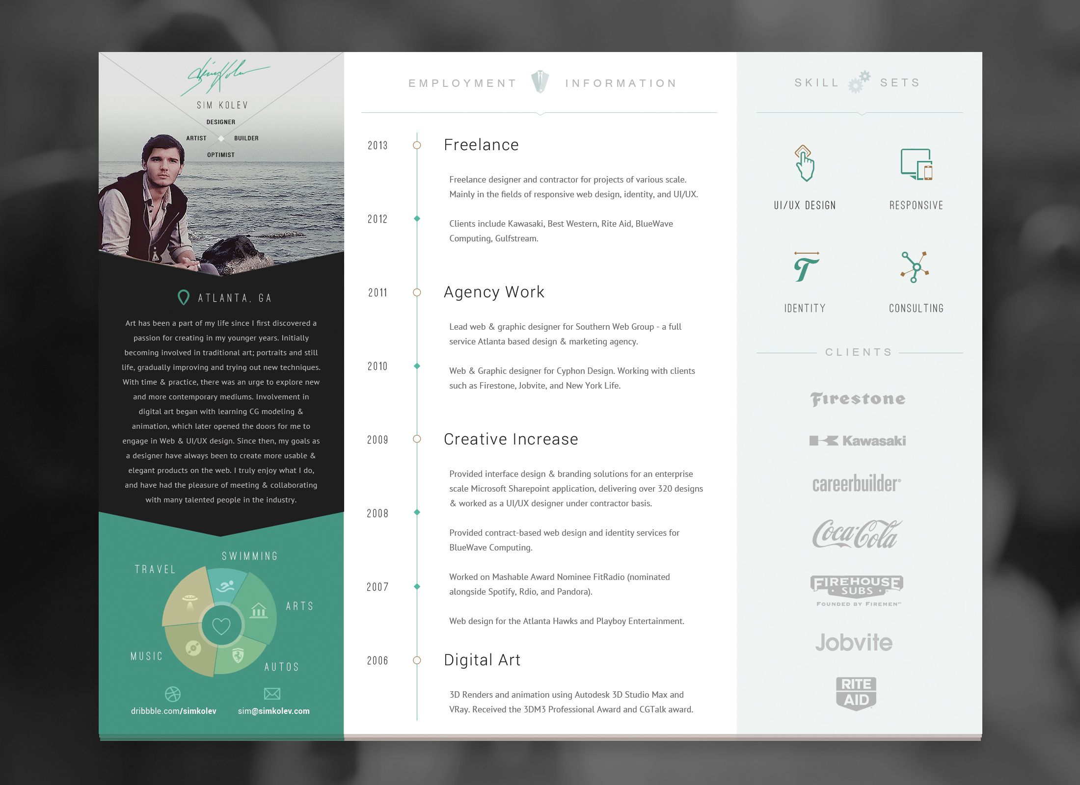 Resume Design Inspiration Httpsdribbbleshots1381644Trifoldresumepdfattachments