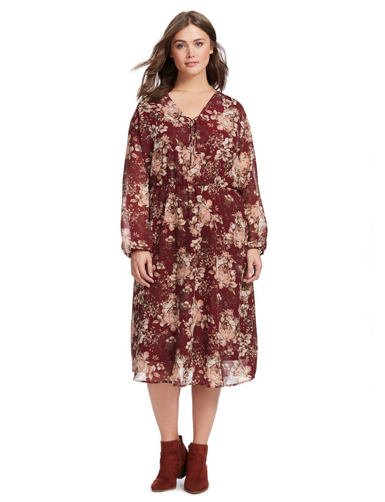 Long sleeve vneck dress in rosa wine print new arrivals closet