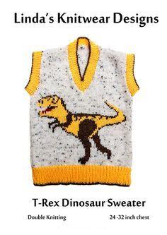Childrens T-Rex dinosaur Motif Knitting Pattern by ...