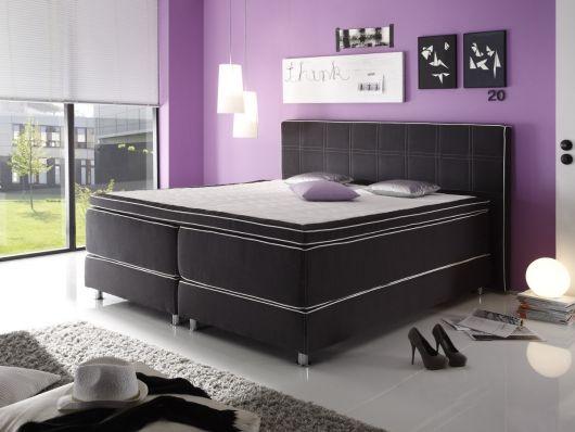 ADAM Boxspringbett Kunstleder 120 x 200 cm Härtegrad 2 weiss - möbel hardeck schlafzimmer