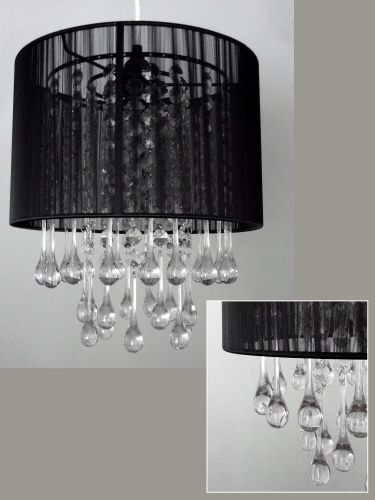 """12"""" Wide Black Chandelier with Acrylic Drops Home Party Decorations Wedding 