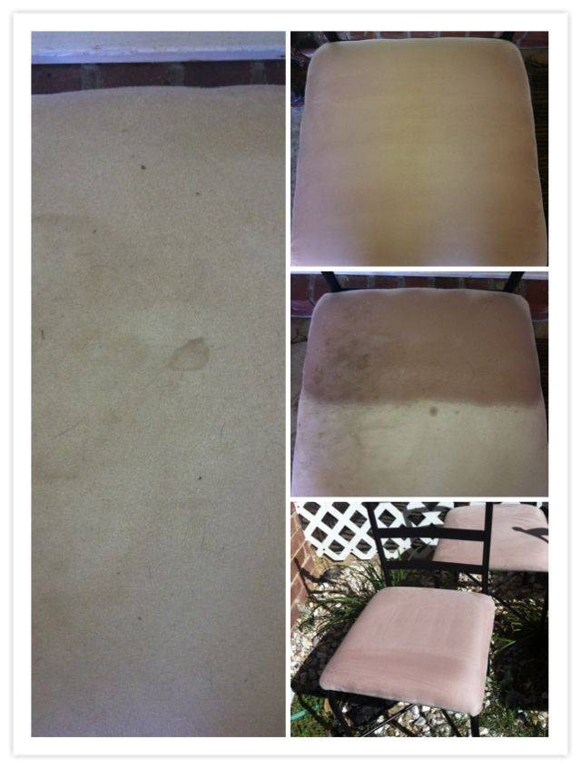 Clean everything with pinesol!!! 24oz bottle 3/4 pinesol 1/4 hot water These are my outdoor patio table chairs that my dog decides to jump on every time he decides to roll in the mud.. I had no clue how I was going to get these stains out, and I remembered my Papa telling me that Pinesol kills all sorts of bugs and detours flies.. Soo I started thinking I have tones of flies on my patio and I have nasty patio furniture, and I put the 2 together and tadah. All u need to do is spray the seats w... #patiodepapas
