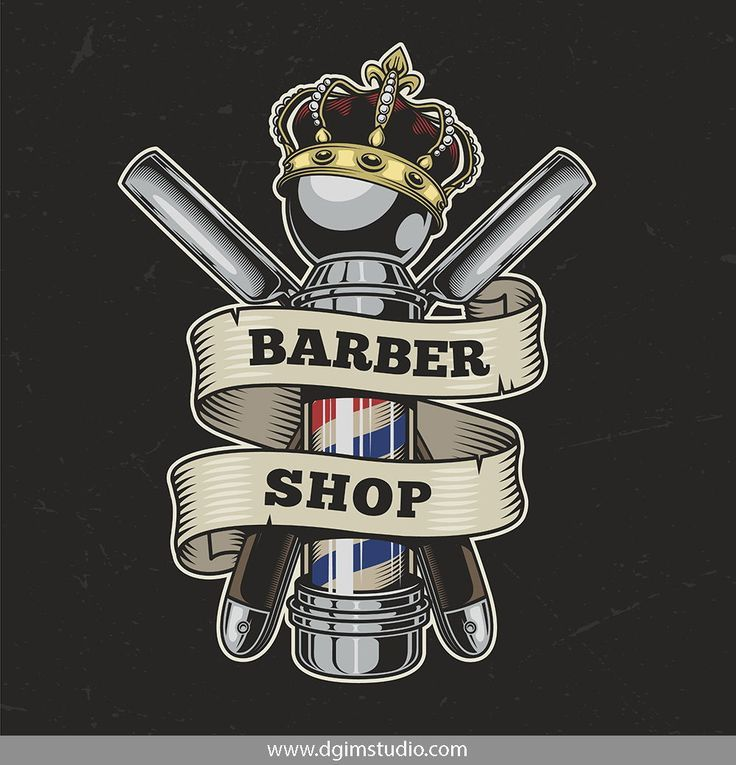 Old School Style Colorful Barber Shop Emblem With Crossed