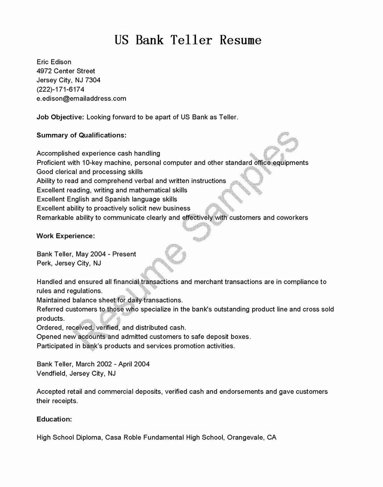 20 Bank Teller Job Description Resume in 2020 Bank