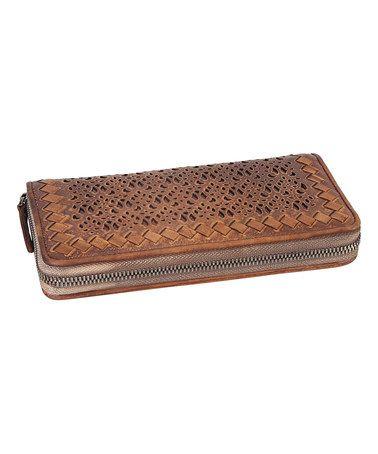 Brown Laser-Cut Woven Leather Wallet #zulily #zulilyfinds