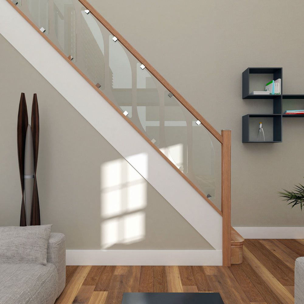Glass Staircase Balustrade Kit Glass Stair Parts Oak Handrails   Glass Panel Stair Railing   Toughened   Square   Framed Glass   Staircase   Banister