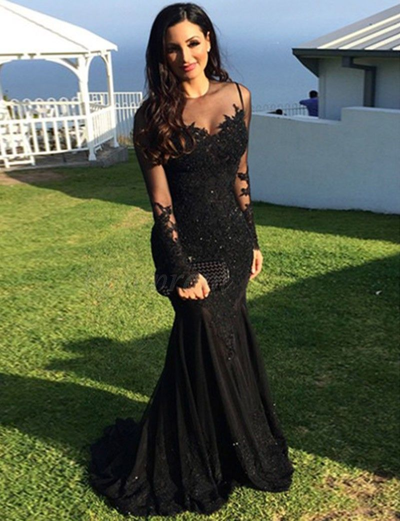 Mermaid illusion neck long sleeves beaded black prom dress with