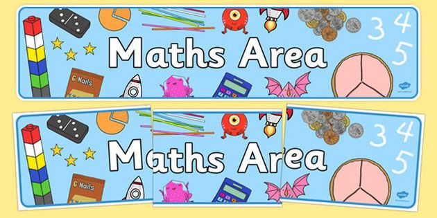 Free Maths Area Sign - A colourful display banner for your maths ...