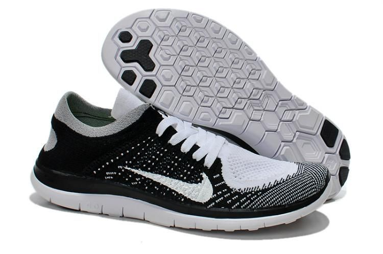 52c0ac39b0b 2015 Nike Free Flyknit 4.0 Mens Running Shoes Newest Couples Sneaker Black  White…