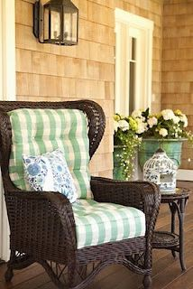 Green Buffalo Check Chair Cushions On Cottage Porch