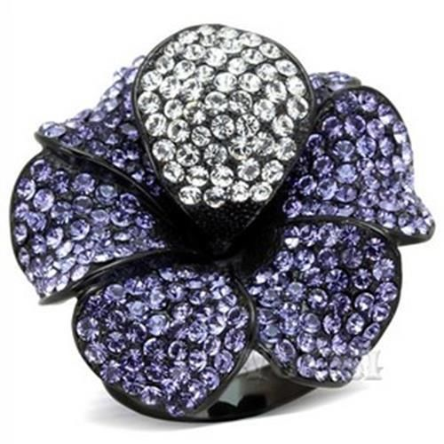 Women's Stainless Steel Black Plating Crystal Tanzanite