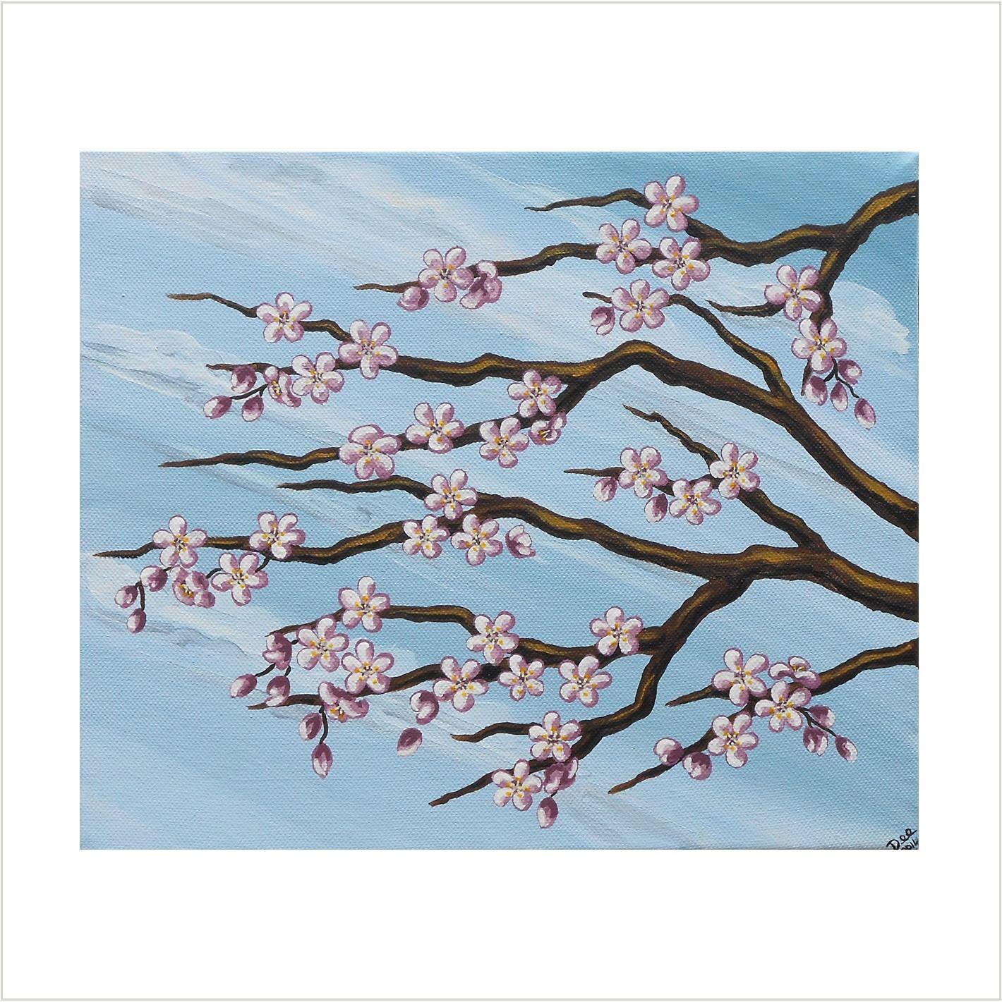 Pink Cherry Blossom Painting Original Acrylic Painting On Canvas Japanese Blossom Art Blossom Tree A Cherry Blossom Painting Cherry Blossom Art Blossoms Art