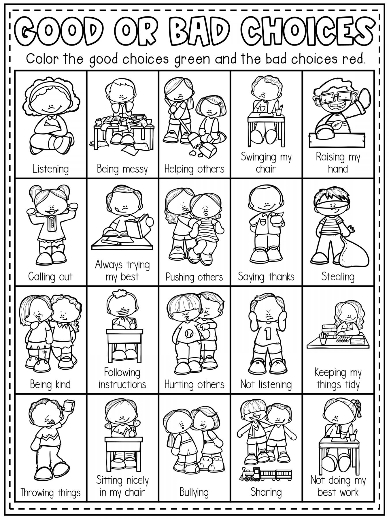 10 School Rules Worksheet For Kindergarten In