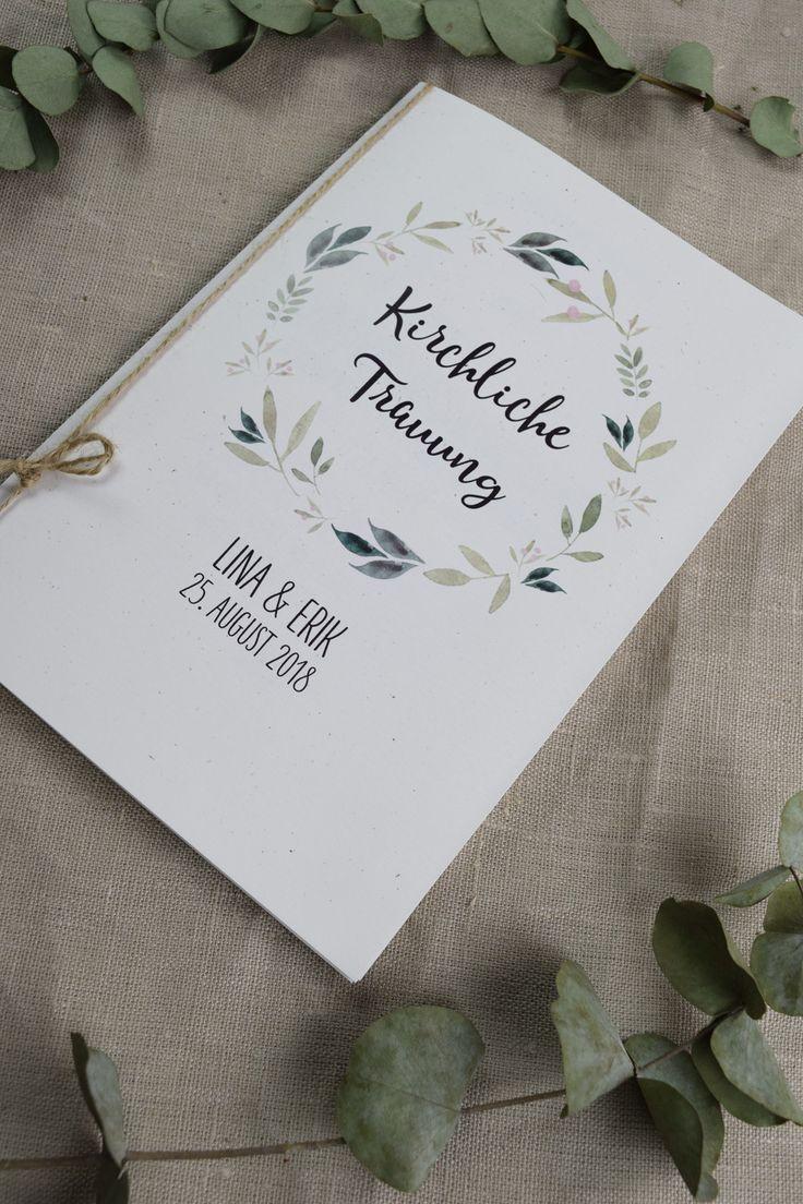 Invitaciones de boda – folleto de la iglesia «naturaleza amor» – un pedazo de papel de diseño de oro