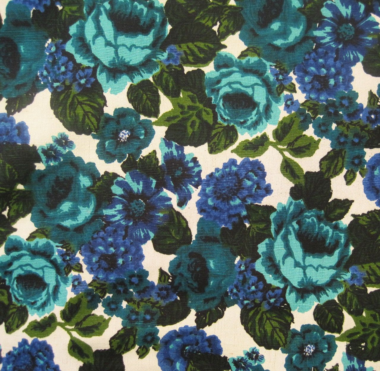 60s Fabric Vintage Floral Upholstery Fabric Cotton Linen Blue Green Floral Upholstery Vintage Floral Wallpapers Floral Upholstery Fabric