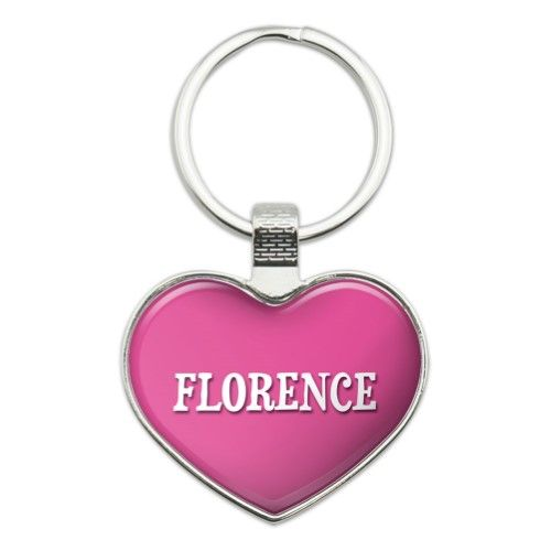 I Love Florence Heart Metal Key Chain, Men's, Heart Color