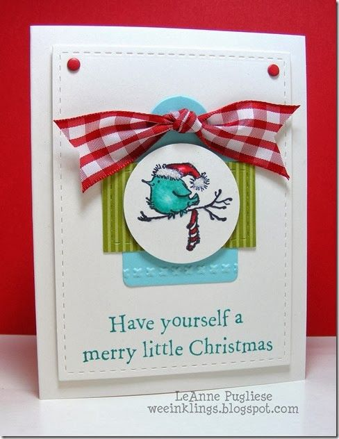 This is the cutest little bird card! LeAnne Pugliese WeeInklings ColourQ 218 Penny Black Christmas
