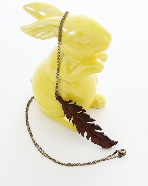 Feather Necklace - Laser Cut. $35.00, via Etsy.