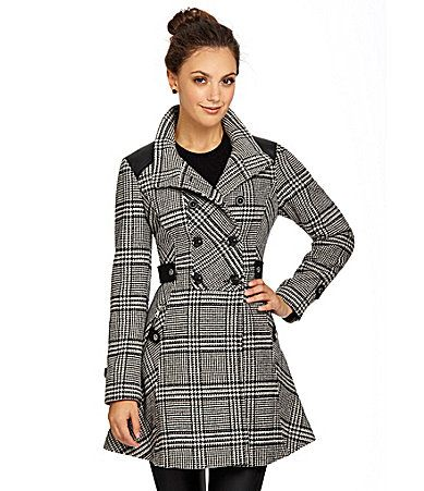 Guess plaid women's coat