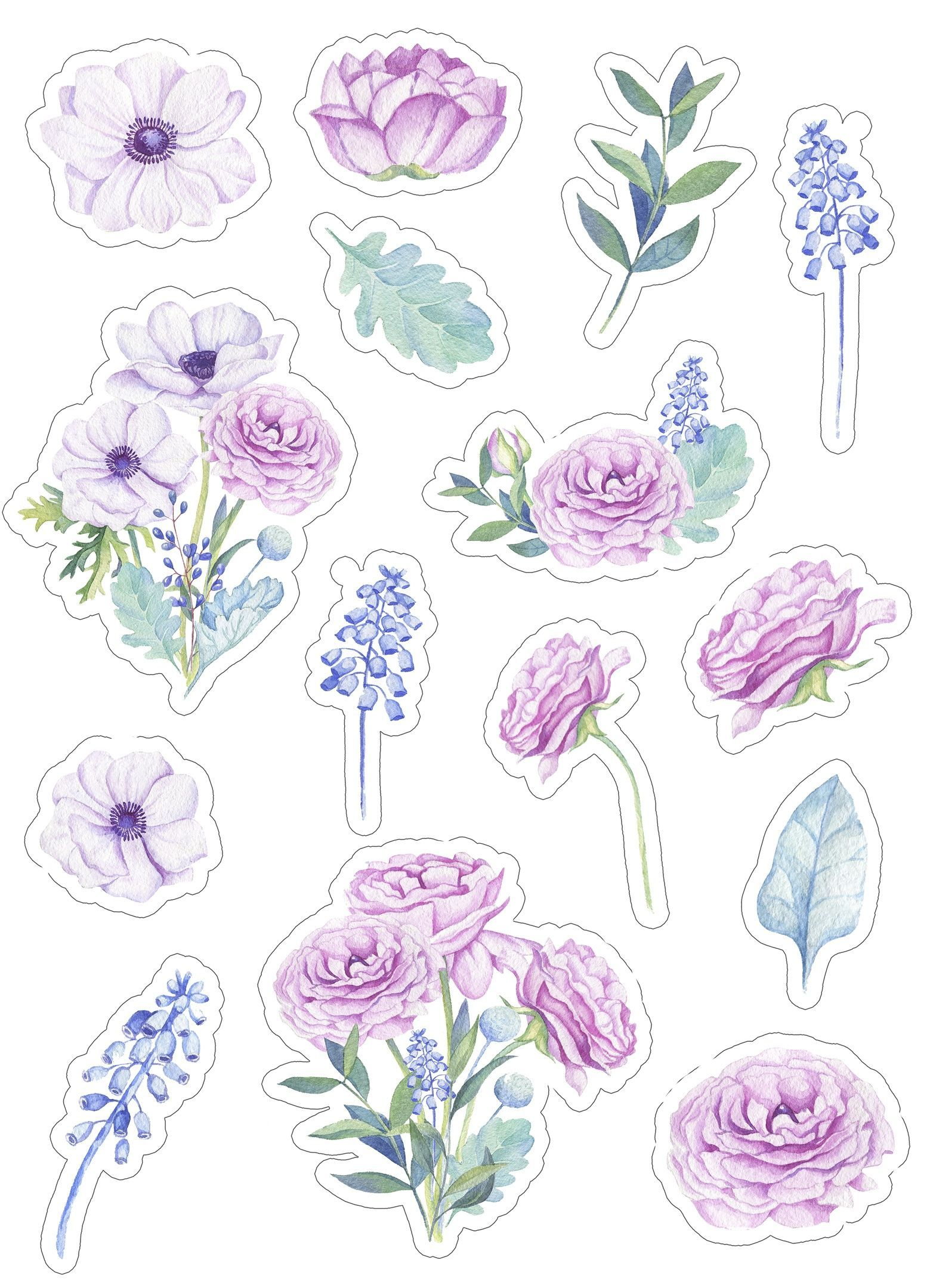 Скрапбукинг, рукоделие | VK | Floral stickers, Print ...