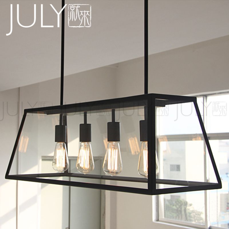 Come To Loft Retro Glass Box Iron Chandelier Rectangular Restaurant Cafe Creative Living Room Dining