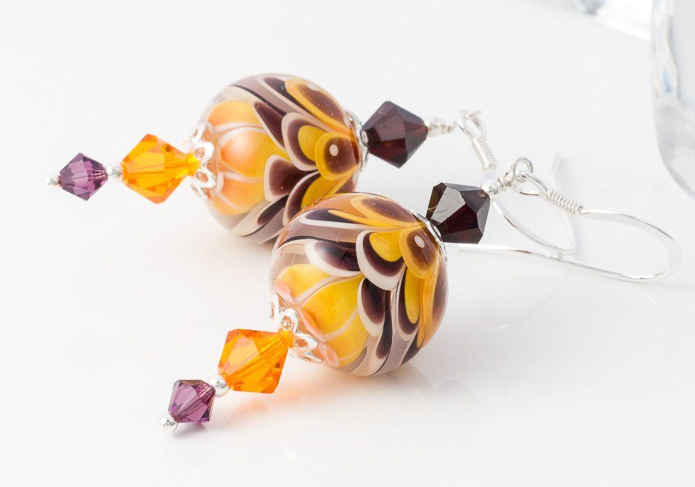 Golden Yellow Lampwork Earrings by Ciel Creations