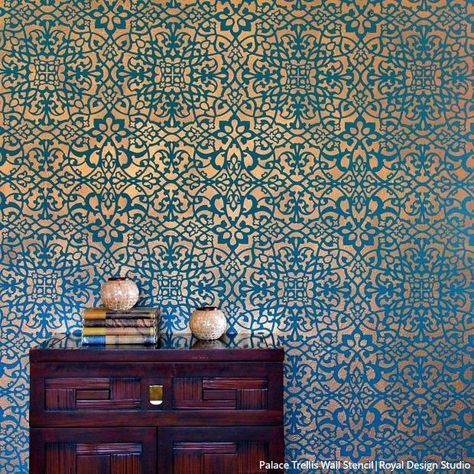 Palace Trellis Moroccan Wall Stencil In 2020 Feature Wall Wallpaper Moroccan Wall Stencils Wallpaper Bedroom Feature Wall
