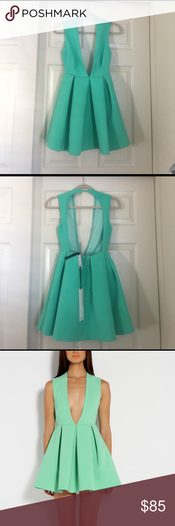 21f60596ca AqAq deep V green skater dress Size UK 4 US 0 The Upper deep green V neck  plunge backless skater mini dress features a pleated skirt with a deep V  neckline.