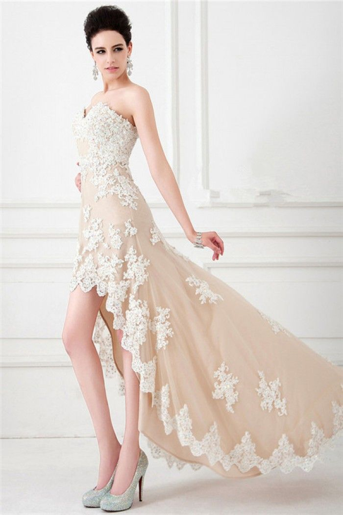 Modern Strapless High Low Champagne Nude Tulle Ivory Lace Beaded ...