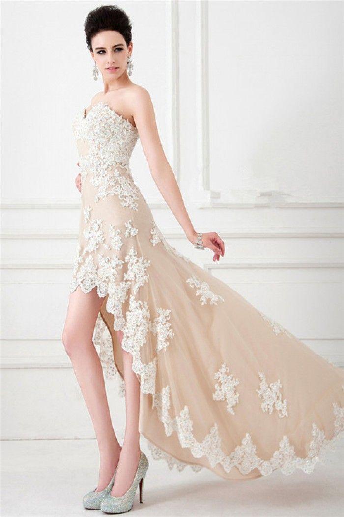 Ivory Lace Short Prom Dresses 2015