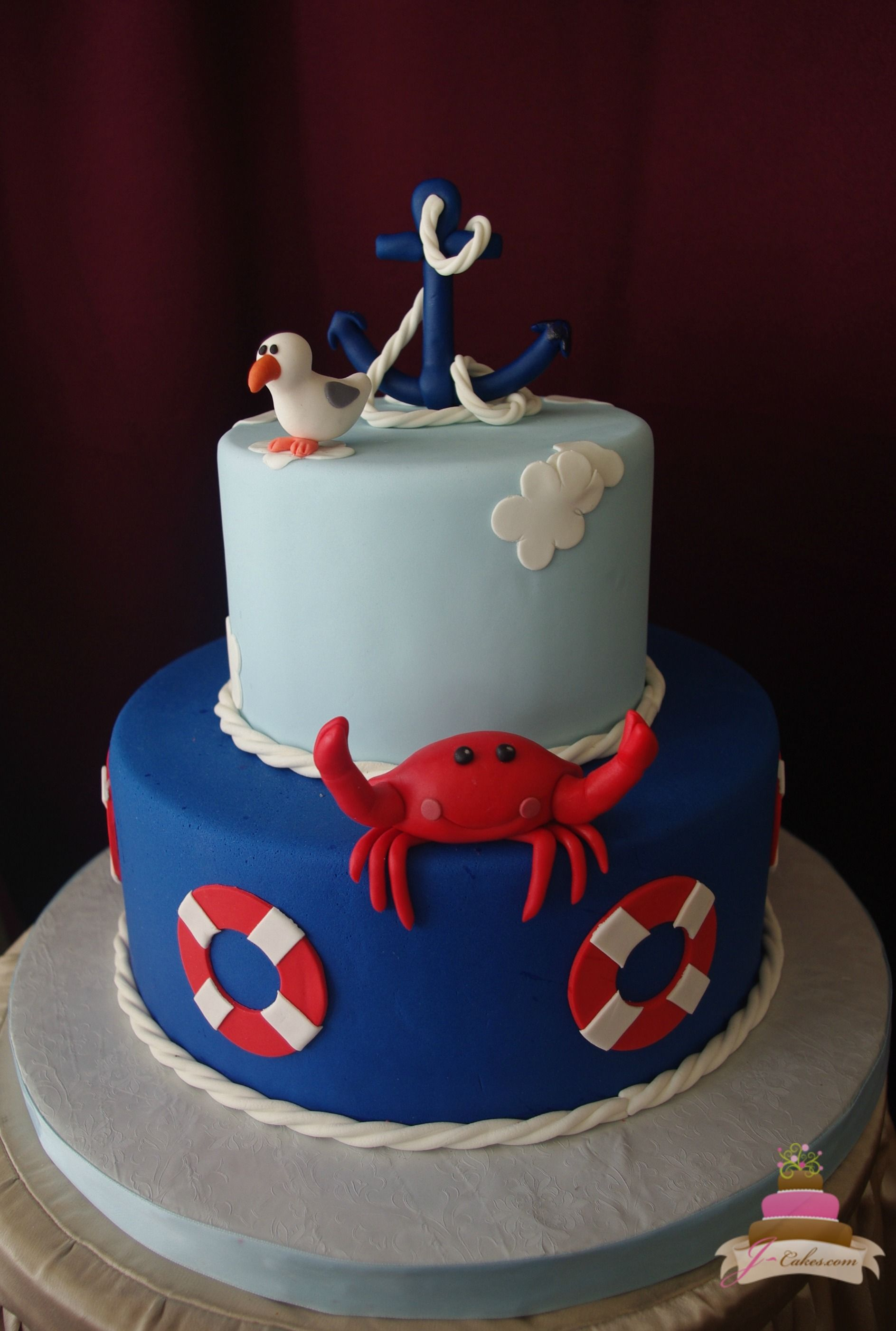 (225) Nautical Theme Baby Shower Cake