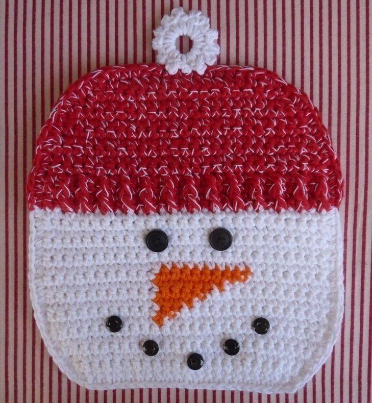 Snowman Potholder Crochet PATTERN - INSTANT DOWNLOAD | Topflappen ...
