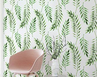 Green palm leaves removable wallpaper, Temporary wallpaper, Tropical leaf wallpaper, Contact paper, Renters wallpaper, BW136
