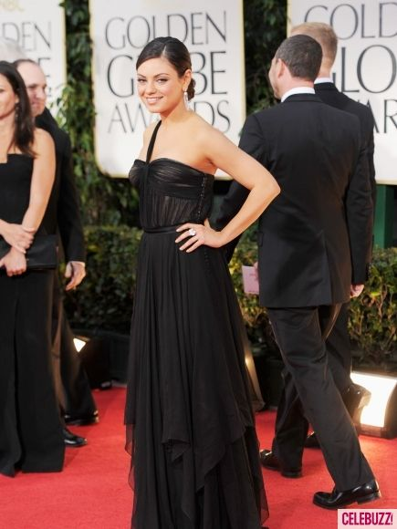 Mila Kunis in a black Dior gown at the 2012 Golden Globes