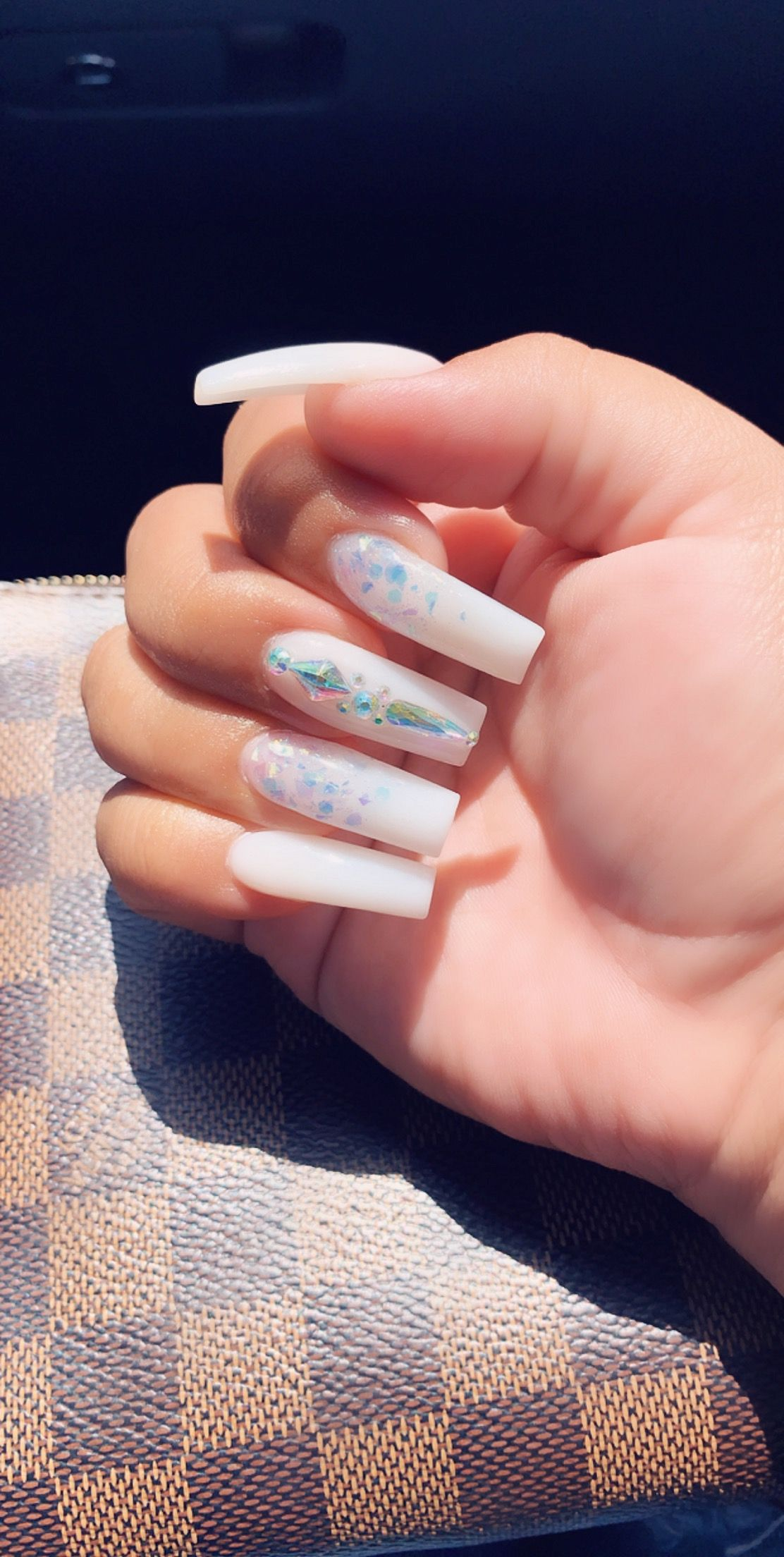 Soft White Acrylic Long Nails Ombre Rhinestone White Acrylic Nails Long Nails Long Square Acrylic Nails
